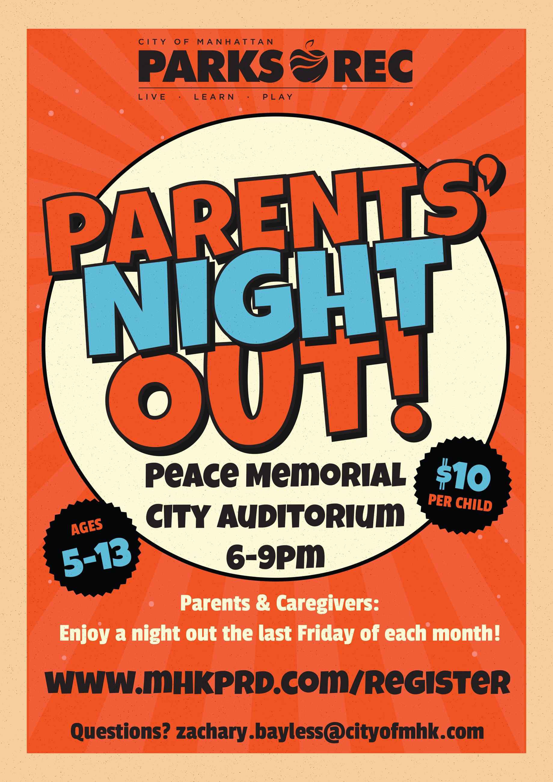 Parents Night Out Flyer Fall 2019